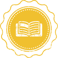 A yellow hand-drawn rosette with an open book in the middle