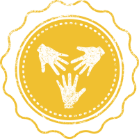 A hand-drawn yellow rosette with three hands inside reaching inwards