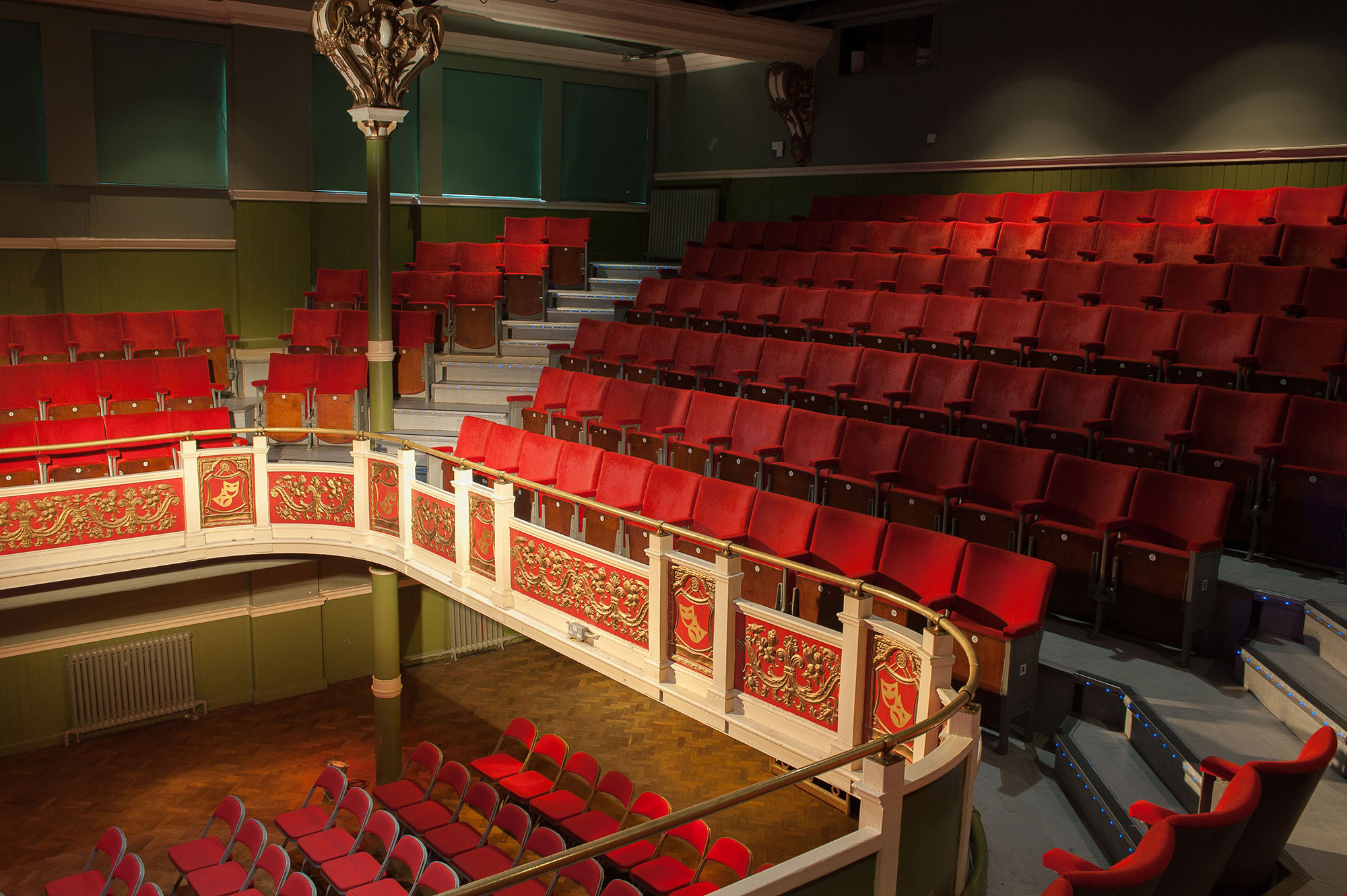The Y Theatre balcony seats 140.