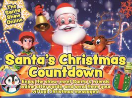 Santa's Christmas Countdown show moves online this year. A Festive banner showing Santa, an elf, a reindeer and a penguin in woolly hat